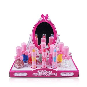 ★Play Makeup Kit★ [DAYCELL] Princess Pink's Kids Makeup 10 pcs Set (7 Nail Polish + 3 Lip Crayon) with Dressing Table