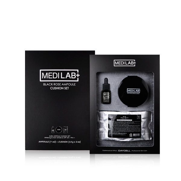 [DAYCELL] MEDI LAB Black Rose Ampoule Cushion Set 15g, SPF50+/PA+++