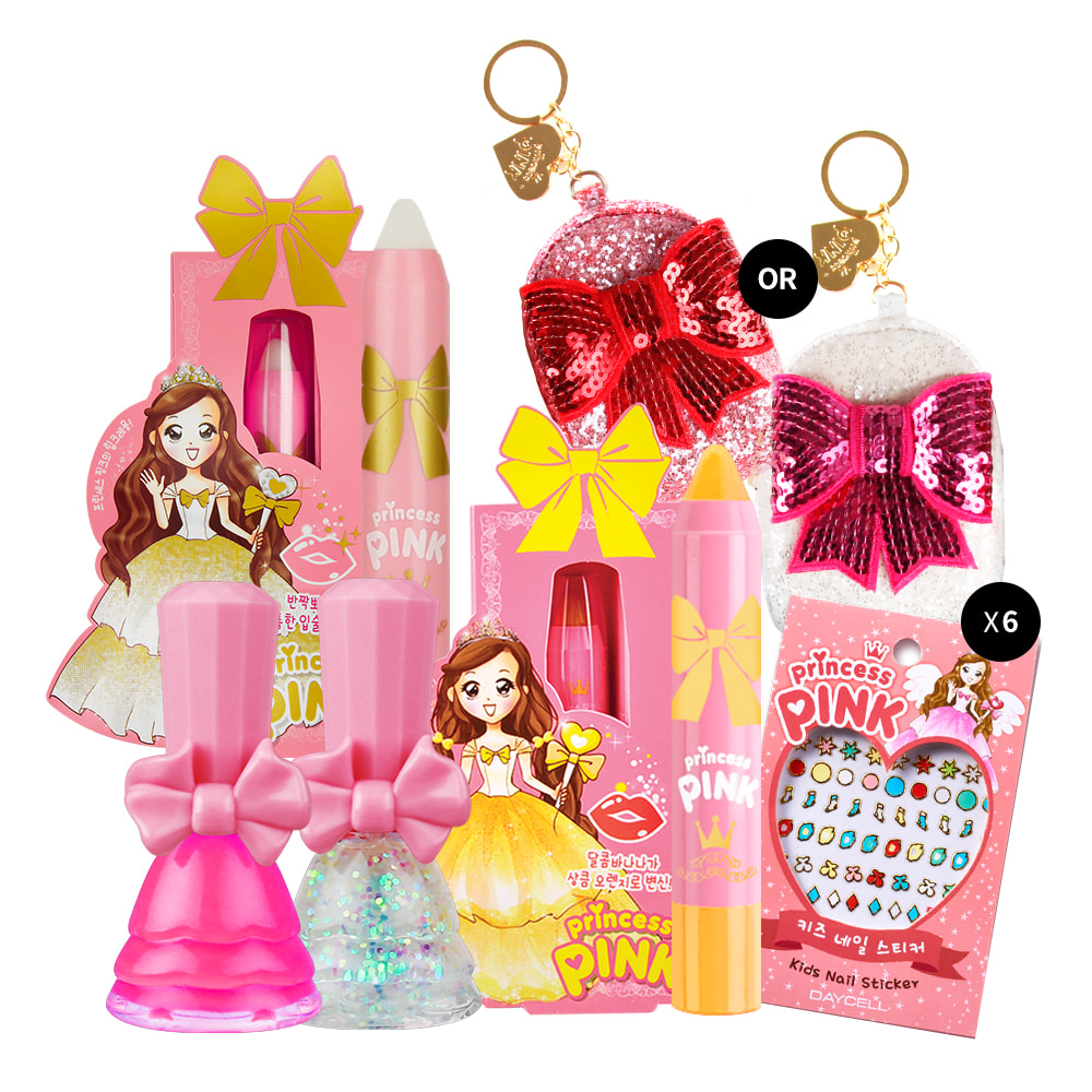 ★Christmas Gift★[DAYCELL] princess PINK 11PCS Makeup Kit for Girls - Lip Crayon + Nail Polish + Nail Sticker + Mini Bag