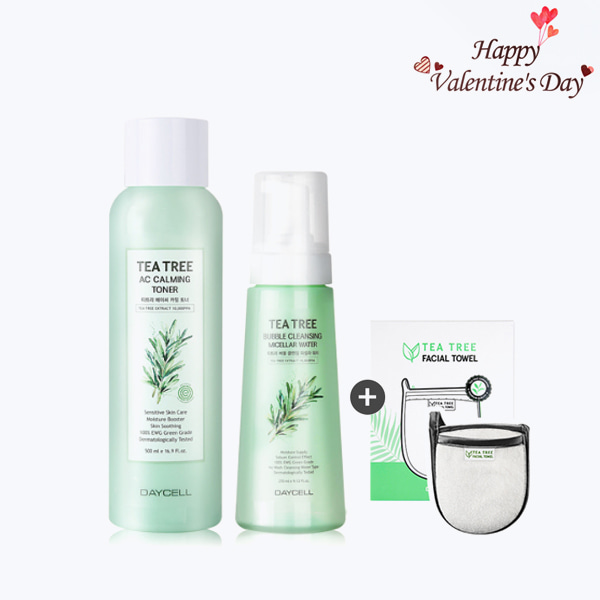 Valentine's Day Sale[DAYCELL] Tea Tree AC Calming 3 Pieces Set - Toner, Micellar Water, Facial Towel