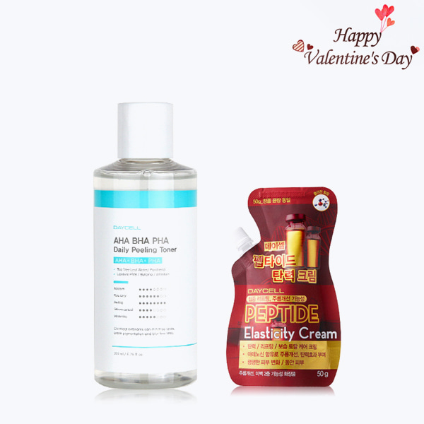 Valentine's Day Sale[DAYCELL] AHA BHA PHA Daily Peeling Toner 200ml + Peptide Elasticity Cream 50g